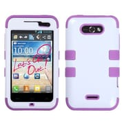Insten® TUFF Hybrid Phone Protector Cover For LG MS770, Ivory White/Electric Purple