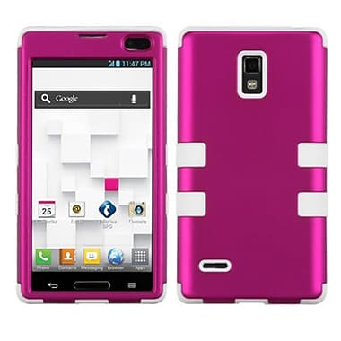Insten® TUFF Hybrid Phone Protector Cover F/LG P769 Optimus L9, Titanium Solid Hot-Pink/Solid White