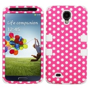 Insten® TUFF Hybrid Protector Cover For Samsung Galaxy S4, Dots Pink/White)/White