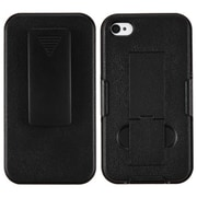 Insten® Hybrid Rubberized Holster W/Stand For iPhone 4/4S, Black