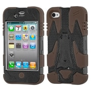 Insten® Cyborg Hybrid Phone Protector Cover F/iPhone 4/4S, Natural Black/Brown