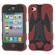 Insten® Cyborg Hybrid Phone Protector Cover F/iPhone 4/4S, Natural Black/Dark Red