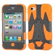 Insten® Cyborg Hybrid Phone Protector Cover F/iPhone 4/4S, Natural Grey/Orange