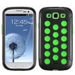 Insten® Hybrid Phone Protector Case For Samsung Galaxy SIII, Natural Black/Electric Green