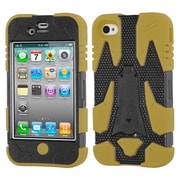 Insten® Cyborg Hybrid Phone Protector Cover F/iPhone 4/4S, Natural Black/Yellow