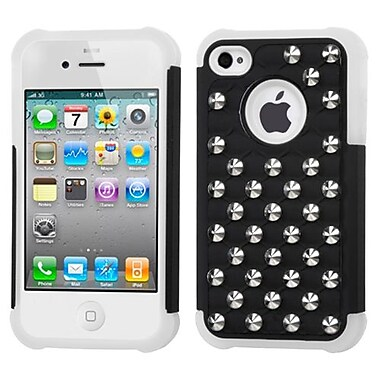 Insten® Lattice Dazzling TotalDefense Rubberized Protector Cover F/iPhone 4/4S, Black/White Studs