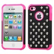 Insten® Lattice Dazzling TotalDefense Rubberized Protector Cover F/iPhone 4/4S, Black/Pink Studs