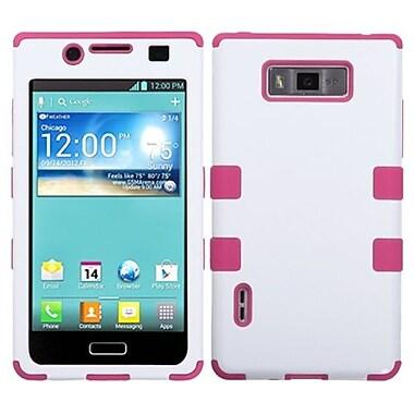 Insten® TUFF Hybrid Phone Protector Cover F/LG US730 Splendor/730 Venice/L86c, Ivory White/Hot-Pink