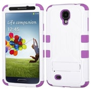 Insten® Hybrid Protector Case With Stand For Samsung Galaxy S4, Natural Ivory White/Electric Purple