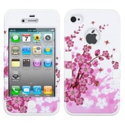 Insten® TUFF Hybrid Phone Protector Cover F/iPhone 4/4S, Spring Flowers/Solid White
