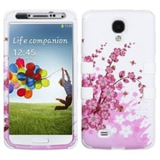 Insten® TUFF Hybrid Protector Cover For Samsung Galaxy S4, Spring Flowers/Solid White