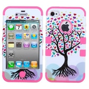 Insten® TUFF Hybrid Phone Protector Cover F/iPhone 4/4S, Love Tree/Electric Pink