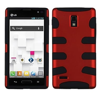 Insten® Soft Protector Case For LG P769 Optimus L9, Titanium Red/Black Fishbone