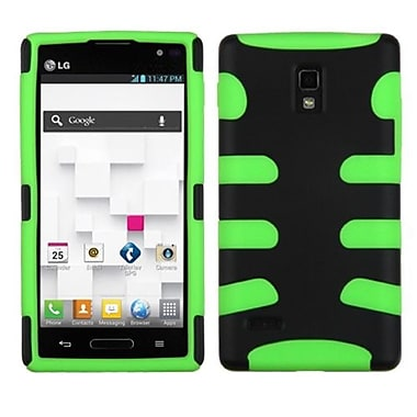 Insten® Protector Cover For LG P769, Black/Electric Green Fishbone