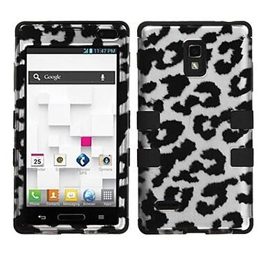 Insten® TUFF Hybrid Phone Protector Cover F/LG P769 Optimus L9, Black Leopard 2D Silver