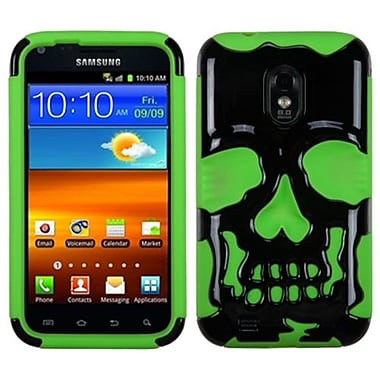 Insten® Protector Cover F/Samsung D710/R760/Galaxy S II 4G, Solid Black/Electric Green Skullcap