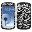 Insten® Hybrid Phone Protector Case For Samsung Galaxy SIII, Zebra Skin (2D Silver)/Black