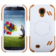 Insten® Hybrid Protector Cover For Samsung Galaxy S4, Natural White/Orange Beehive Barrier