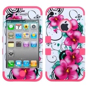 Insten® TUFF Hybrid Phone Protector Cover F/iPhone 4/4S, Morning Petunias/Electric Pink