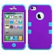 Insten® TUFF Hybrid Rubberized Phone Protector Cover F/iPhone 4/4S, Grape/Tropical Teal