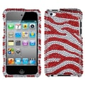 Insten® Zebra Skin Diamante Back Protector Cover For iPod Touch 4th Gen, Silver/Red
