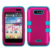 Insten® TUFF Hybrid Phone Protector Cover For LG MS770, Titanium Solid Hot-Pink/Tropical Teal