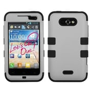 Insten® TUFF Hybrid Phone Protector Cover For LG MS770, Gray/Black