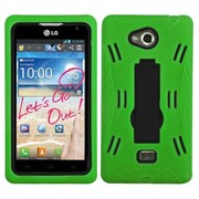 Insten® Symbiosis Stand Protector Cover For LG MS870 Spirit 4G, Black/Green