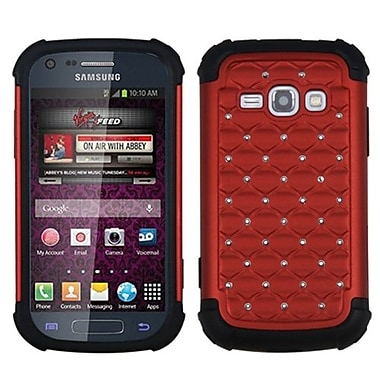 Insten® TotalDefense Luxurious Lattice Dazzling Protector Case F/Samsung M840, Red/Black