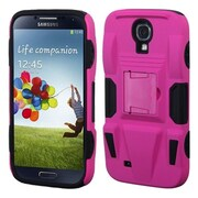 Insten® Rubberized Advanced Armor Stand Protector Cover For Samsung Galaxy S4, Hot-Pink/Black
