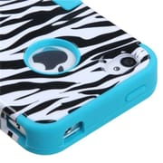 Insten® TUFF Hybrid Phone Protector Cover F/iPhone 4/4S, Zebra Skin/Tropical Teal