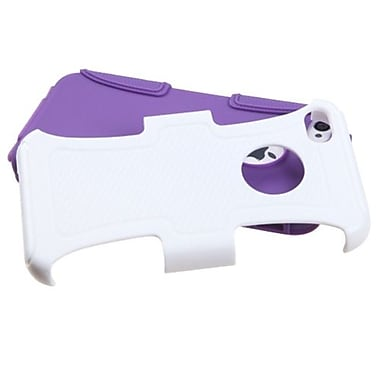 Insten® Fusion Protector Cover F/iPhone 4/4S, Solid Ivory White/Electric Purple Frosted