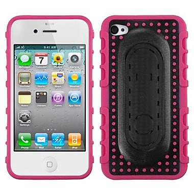 Insten® Protector Cover W/Snap Tail Stand F/iPhone 4/4S, Hot-Pink Massage Dots
