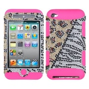Insten® TUFF Hybrid Protector Cover For iPod Touch 4th Gen, Hottie Diamante/Electric Pink