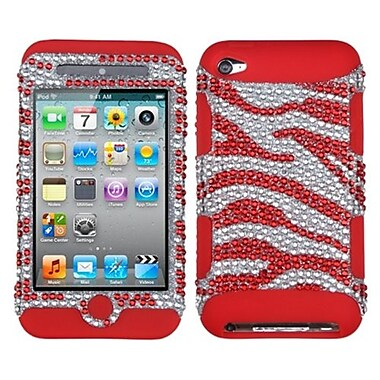 Insten® Zebra Skin TUFF Hybrid Protector Cover F/iPod Touch 4th Gen, Silver/Red