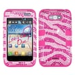 Insten® Diamante TUFF Hybrid Phone Protector Case For LG LW770, Hot-Pink Zebra