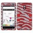 Insten® Diamante TUFF Hybrid Phone Protector Case For LG P769, Red Zebra