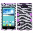 Insten® Diamante TUFF Hybrid Phone Protector Case For LG US730 Splendor, Electric Purple Zebra