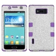 Insten® Diamante TUFF Hybrid Phone Protector Case For LG US730 Splendor, Silver/Electric Purple