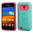 Insten® Back Protector Cover W/Ring Stand F/Samsung D710, R760, Galaxy S II 4G, Teal Green/Hot-Pink
