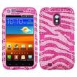 Insten® Diamante Hybrid Case F/Samsung D710, R760, Galaxy S II 4G, Zebra Skin/Hot-Pink