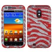Insten® Diamante Hybrid Case F/Samsung D710, R760, Galaxy S II 4G, Zebra Skin/Red