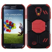 Insten® Hybrid Protector Case With Stand For Samsung Galaxy S4, Natural Black/Red Beehive Barrier