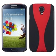 Insten® Rubberized Phone Back Protector Cover For Samsung Galaxy S4, Red/Black Wave