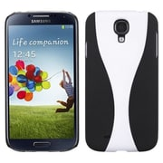 Insten® Rubberized Phone Back Protector Cover For Samsung Galaxy S4, White/Black Wave