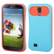 Insten® Rubberized Back Protector Cover For Samsung Galaxy S4, Baby Blue/Orange
