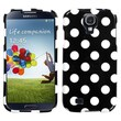 Insten® Phone Protector Case For Samsung I337 Galaxy S4, White Polka Dots/Black