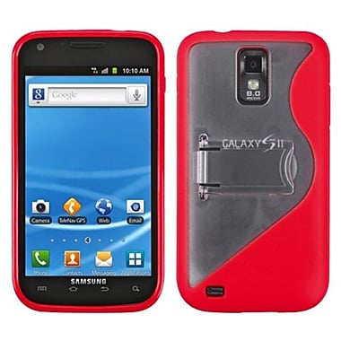 Insten® Gummy Cover With Stand For Samsung T989 Galaxy S2, S-Shape Transparent Clear/Solid Red