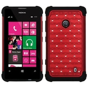 Insten® Luxurious Lattice Dazzling TotalDefense Protector Cover For Nokia Lumia 521, Red/Black