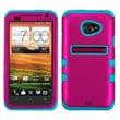 Insten® TUFF Hybrid Phone Protector Case For HTC EVO 4G LTE, Titanium Solid Hot-Pink/Tropical Teal